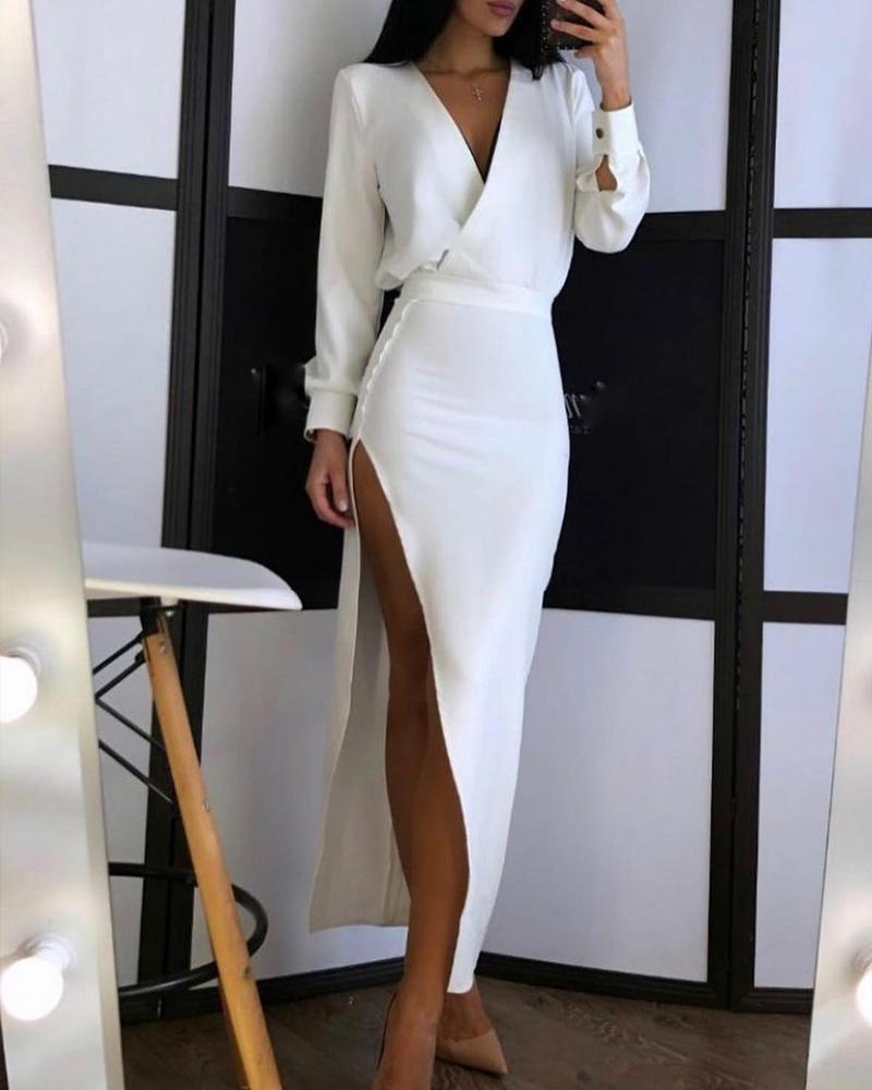 Surplice Neck Split Thigh Skinny Dress