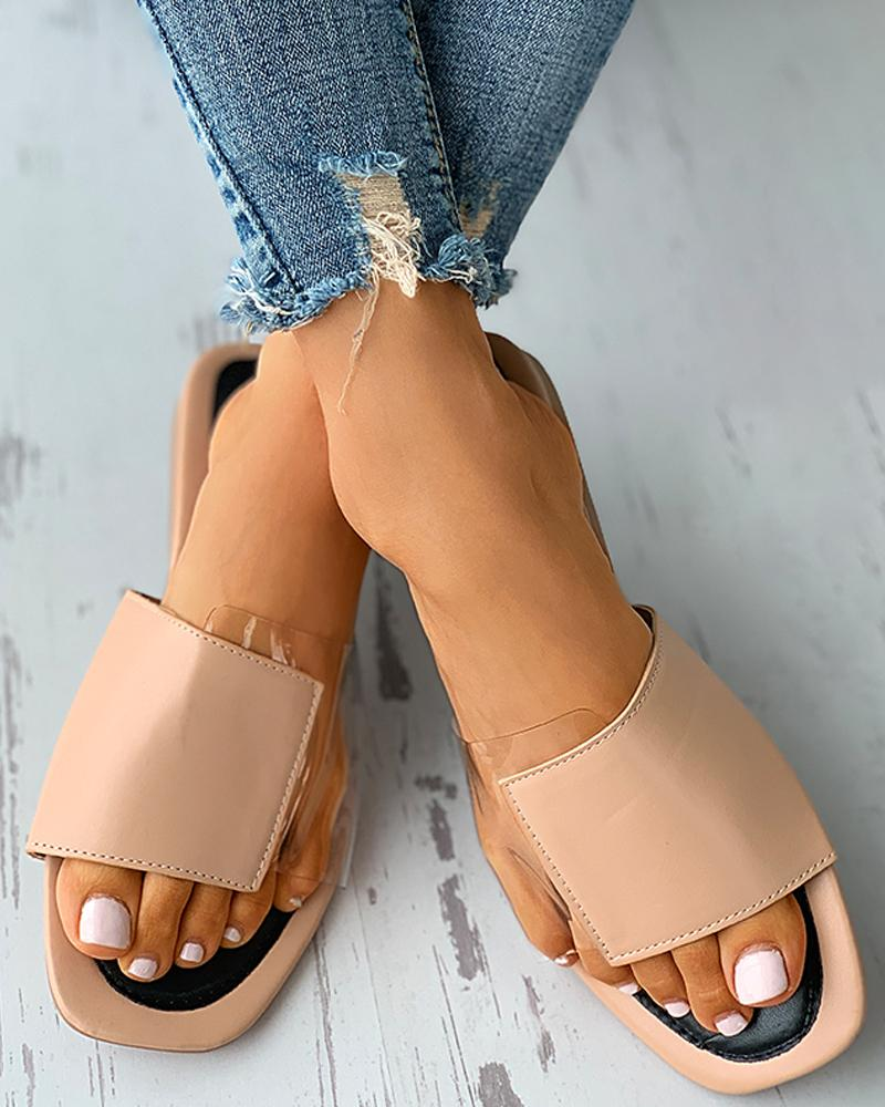 Clear Perspex Square Toe Flat Sandals