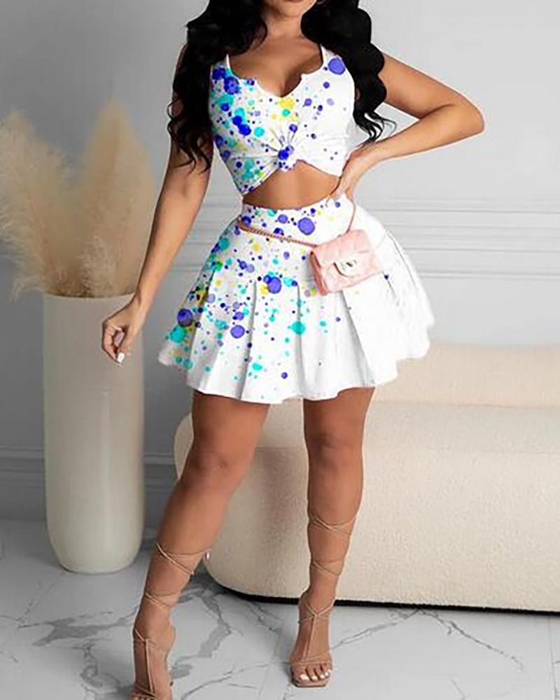 Spaghetti Strap Ink Splash Bodycon Top & Skirt Set, ivrose, white  - buy with discount