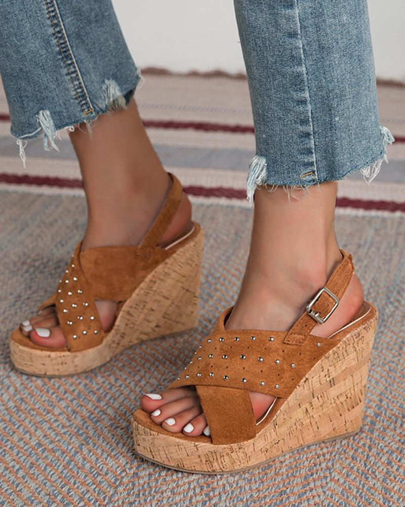 Studded Solid Open-toe Wedge Shoes Sandals