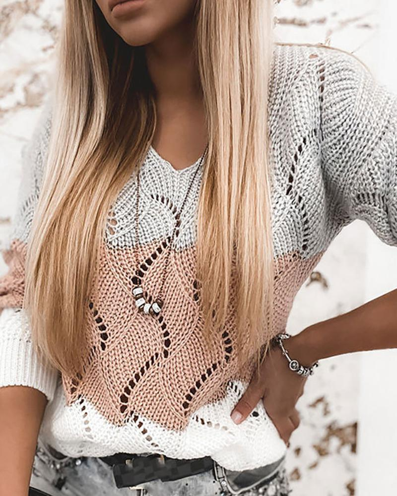 Colorblock Hollow Out Long Sleeve Sweater