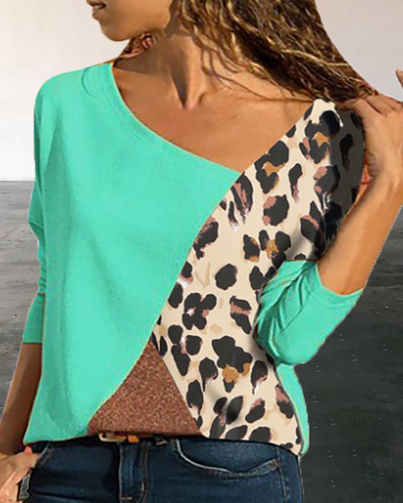 Ivrose coupon: Colorblock Insert Leopard Print Long Sleeve T-shirt