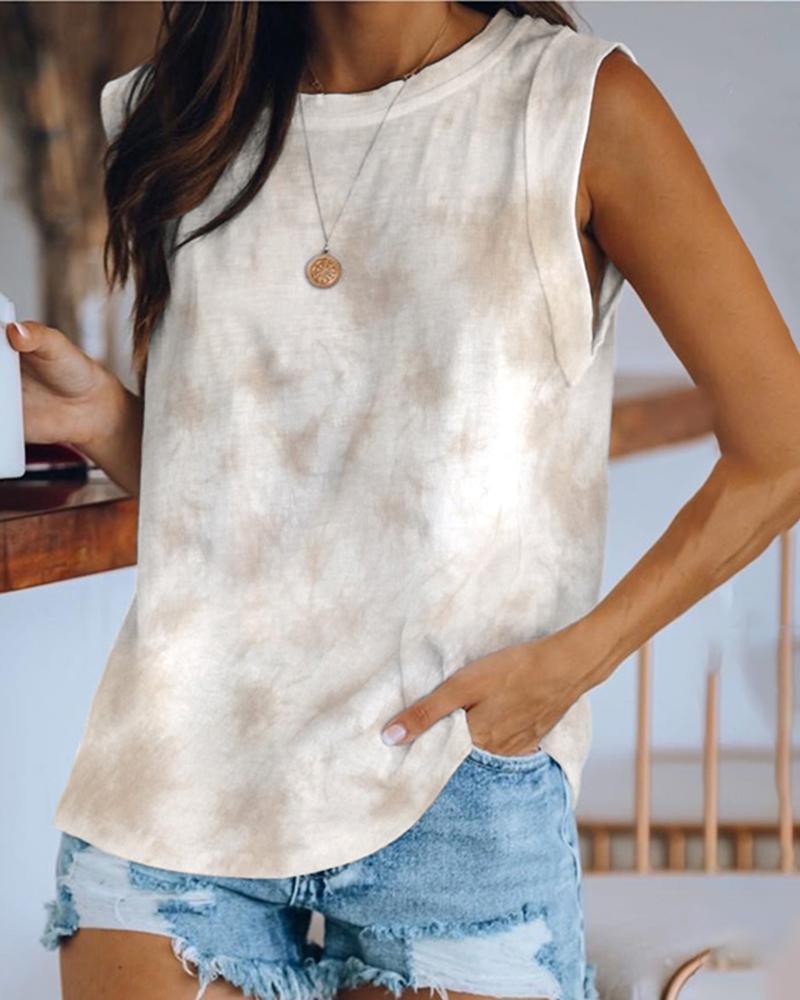 Ivrose coupon: Tie Dye Print Round Neck Tank Women Top