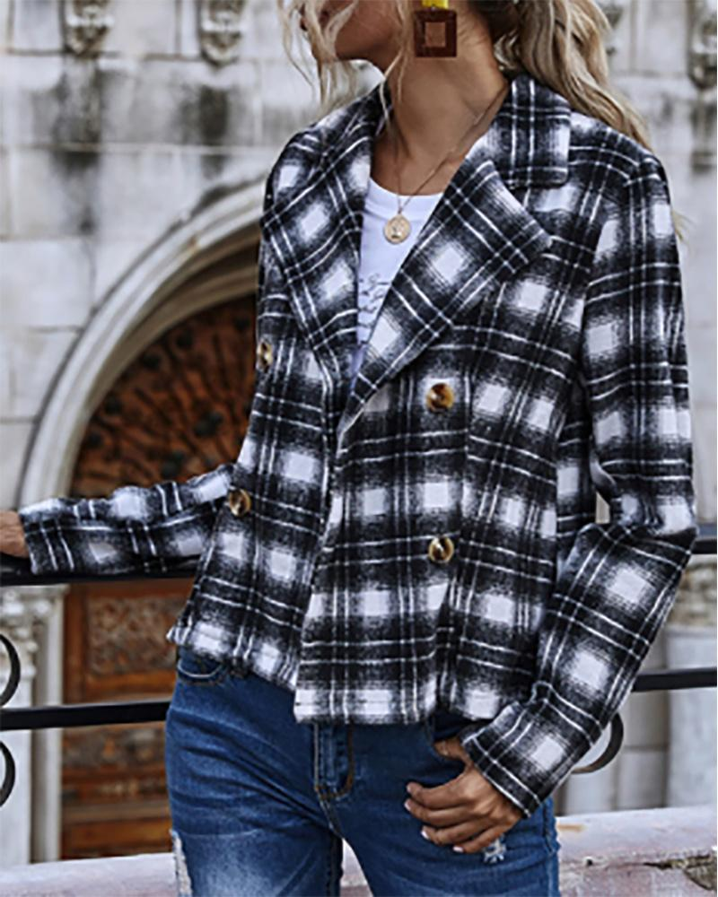 Plaid Print Long Sleeve Double Breasted Trench Coat