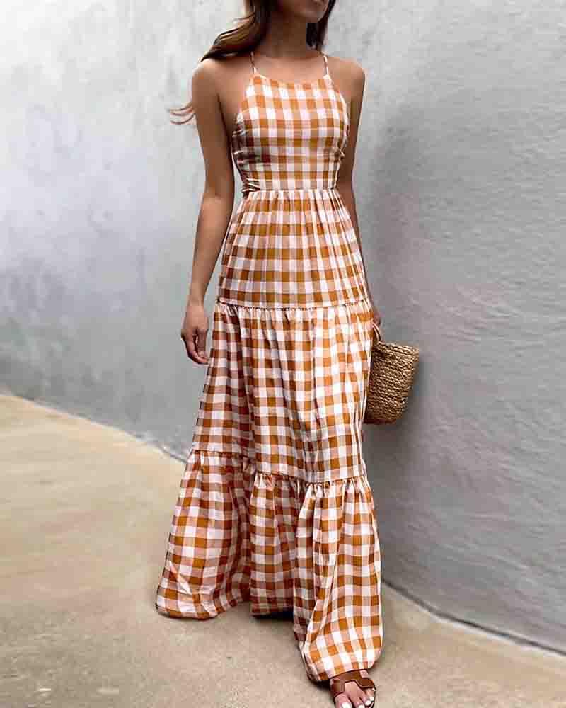 Plaid Lace-up Backless Halter Sleeveless Maxi Dress