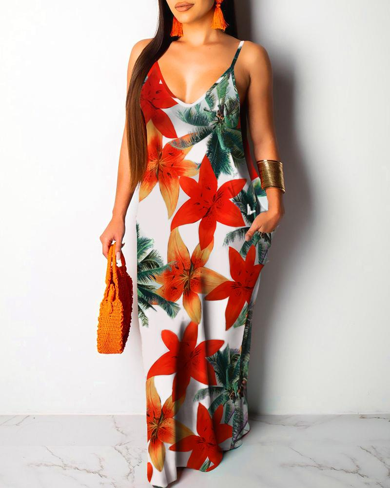 Floral Palm Tree Print Pocket Design Maxi Dress, boutiquefeel, red  - buy with discount