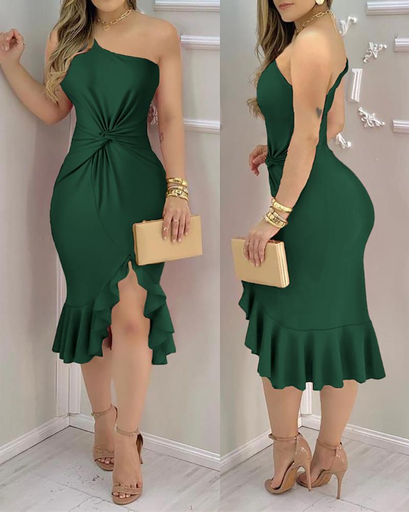 Plain One Shoulder Ruffle Hem Twist Slit Dress Party Solid Sleeveless Bodycon Dress, Green