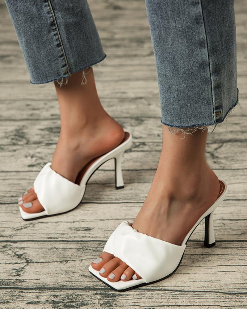 Square-toe Solid Color Strap Heel Sandals