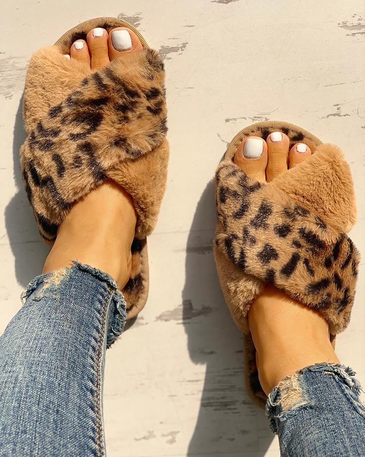 Fluffy Leopard Crisscross Peep Toe Slippers