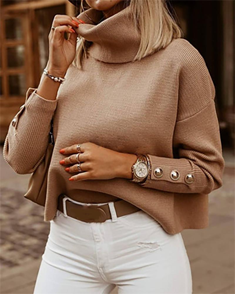 High Neck Button Design Knit Sweater
