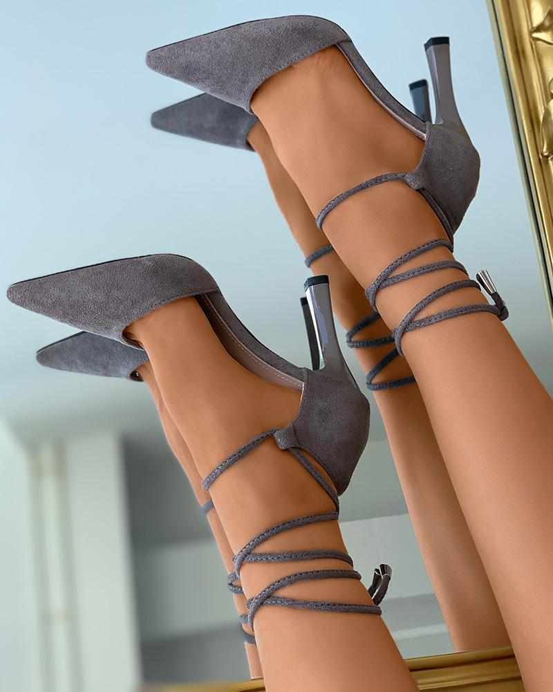 Strappy Pointed Toe Suede Heels