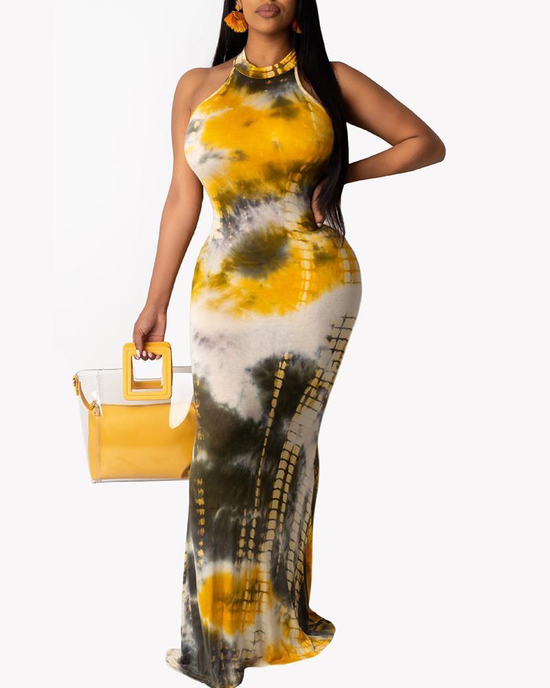 Tie Dye Print Cutout Back Sleeveless Maxi Dress thumbnail