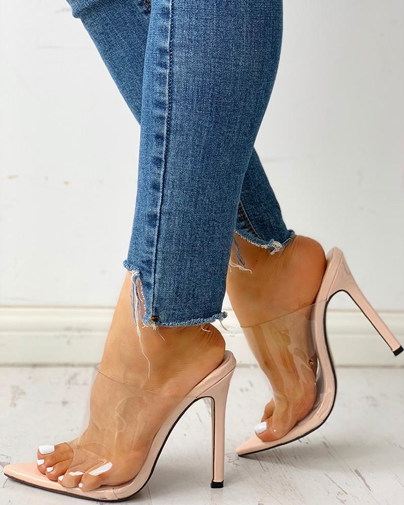 Transparent Peep Toe Thin Heeled Sandals