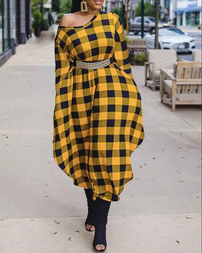 Plaid Print Long Sleeve Round Neck Casual Dress