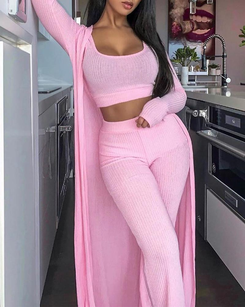 3-Piece Rib Suit Set, ivrose, pink  - buy with discount