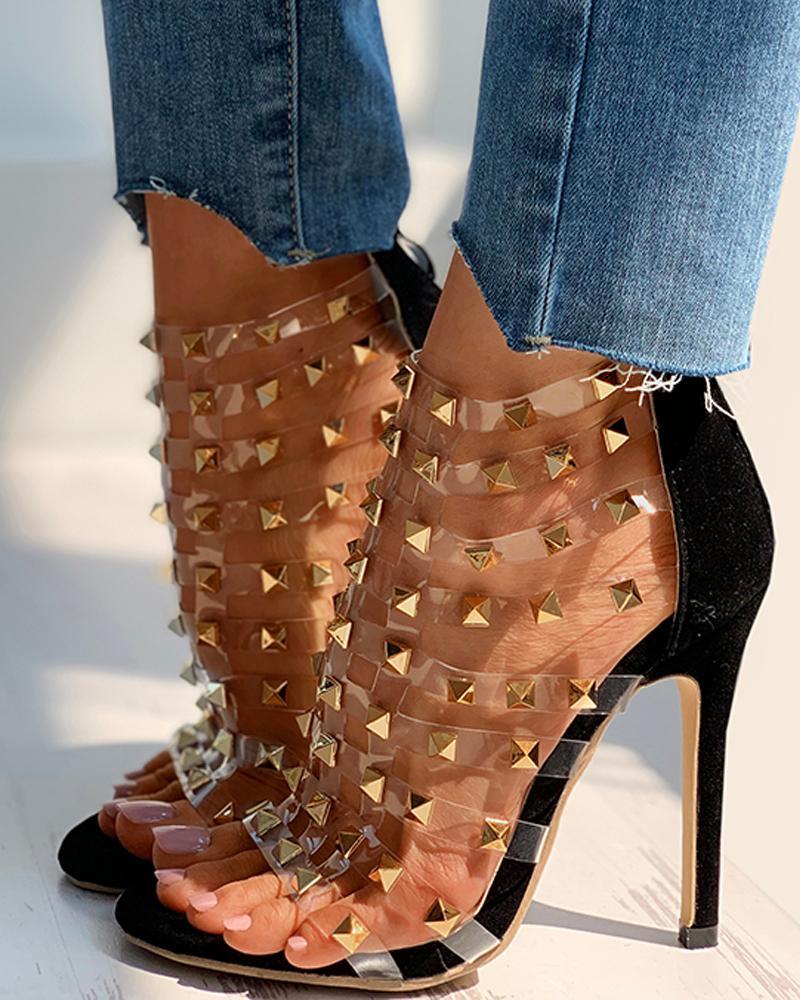 ChicMe coupon: Rivet Transparent Strap Stiletto Heel
