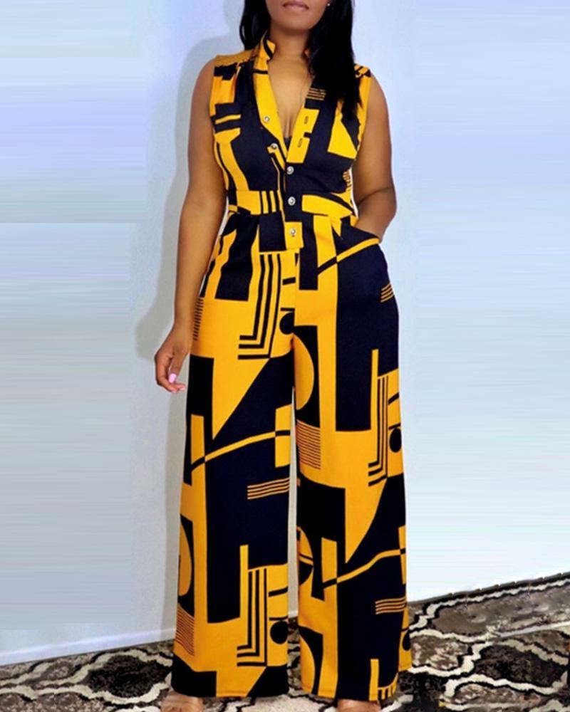 Sleeveless Graphic Print Buttoned Wide Leg Jumpsuit Casual Elegant Jumpsuit