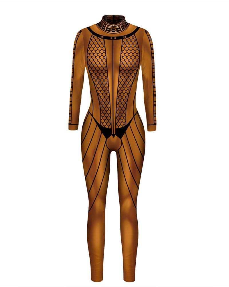 Halloween Graphic / Skeleton Print Skinny Costume Jumpsuit