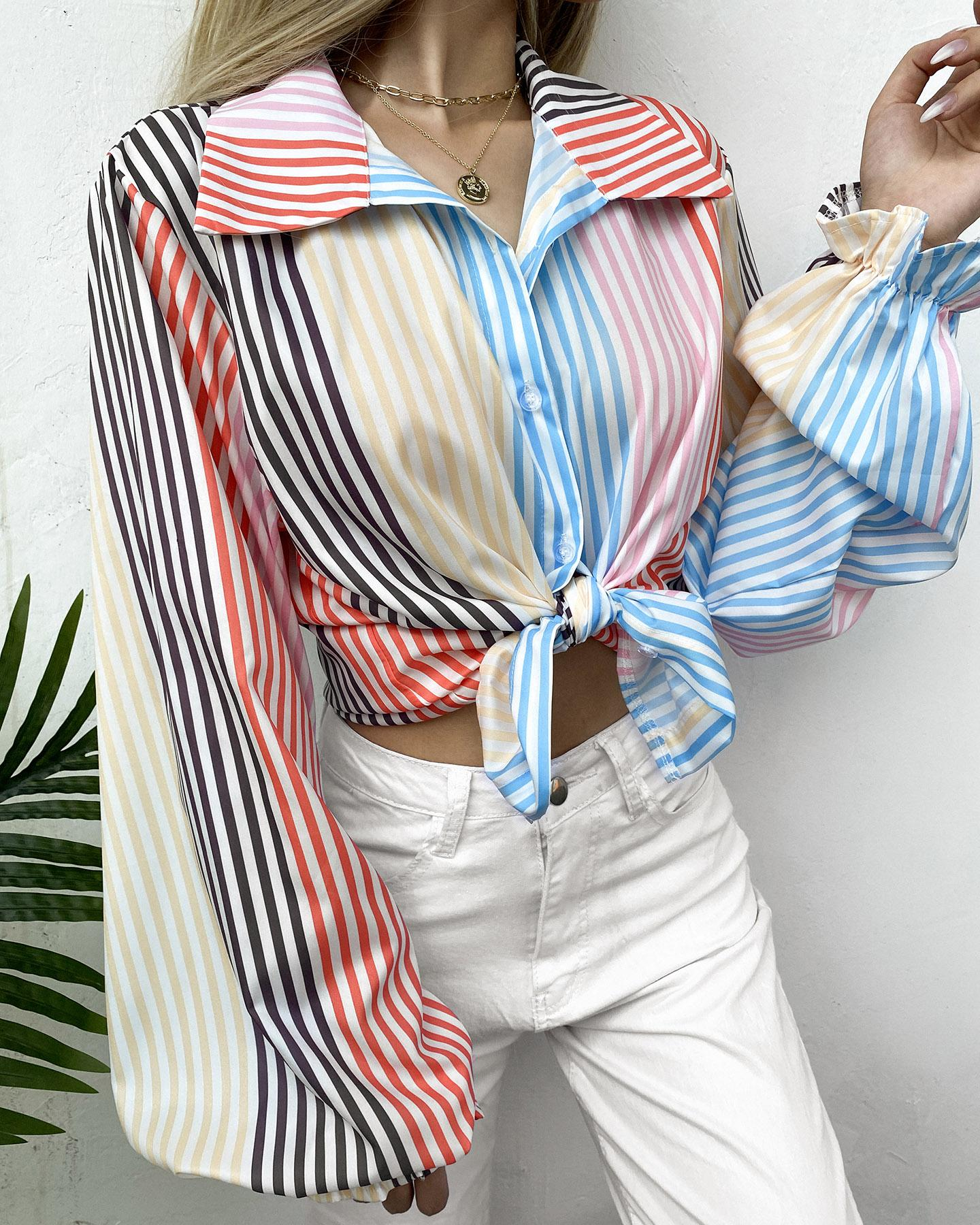 Striped Colorblock Lantern Sleeve Buttoned Top, Multicolor