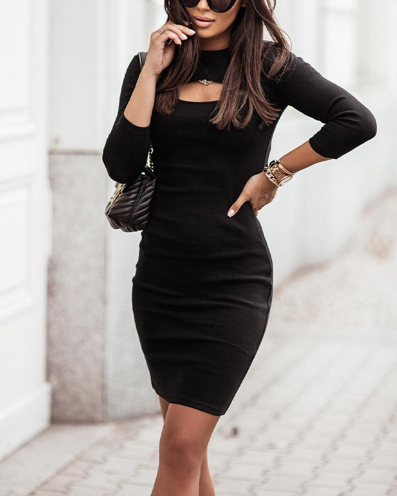 Cutout Front Long Sleeve Knit Bodycon Dress