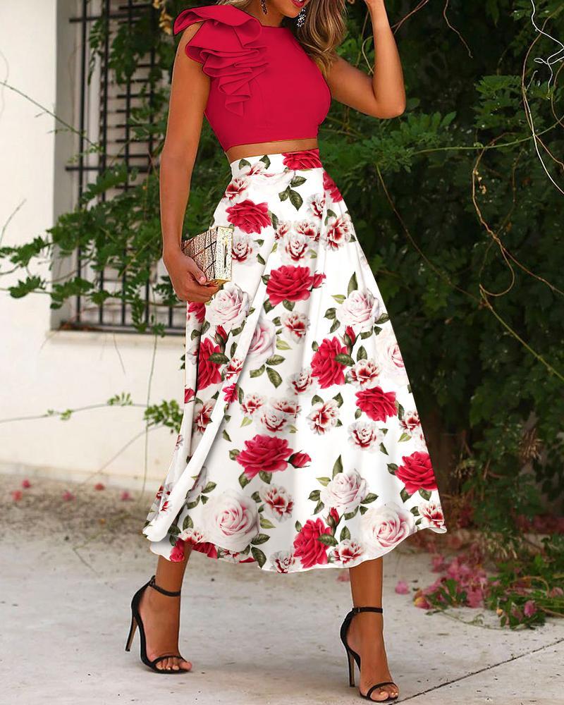 Two Piece Sets One Shoulder Plain Ruffle Hem Crop Top & Floral Skirt Set, Red