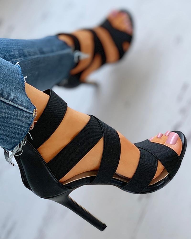 Crisscross Bandage Zipper Back Stiletto Heel, Black