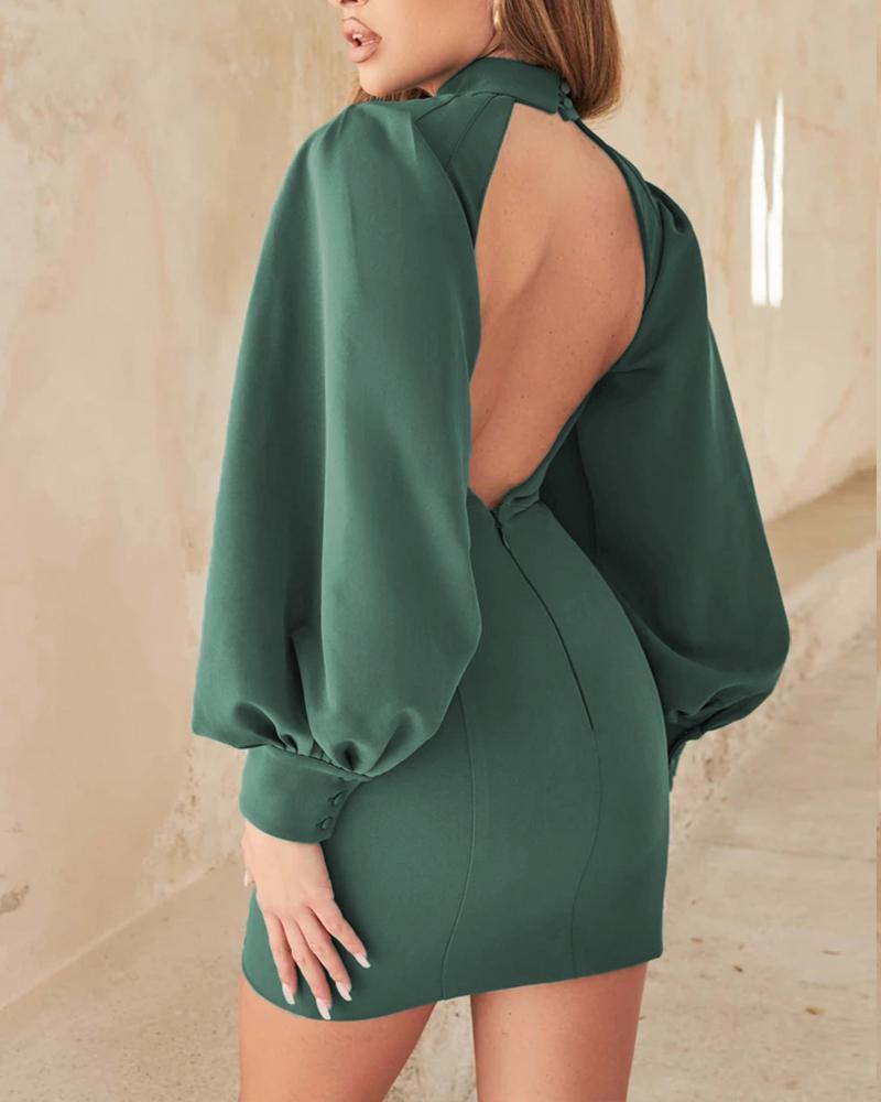 Lantern Sleeve Backless Zipper Button Detail Bodycon Dress