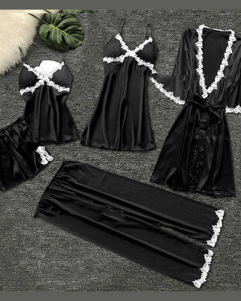 Conjunto de 5 piezas de cami y bata de encaje de pestañas