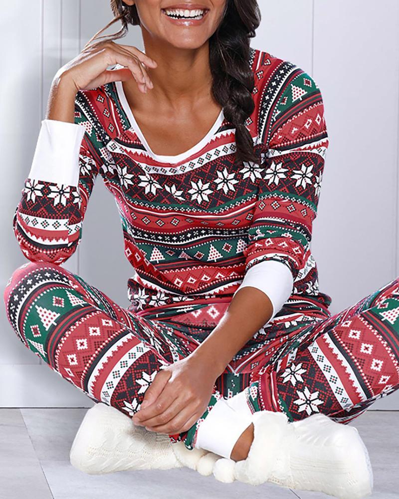 Ensemble pyjama à manches longues à imprimé mélangé de Noël