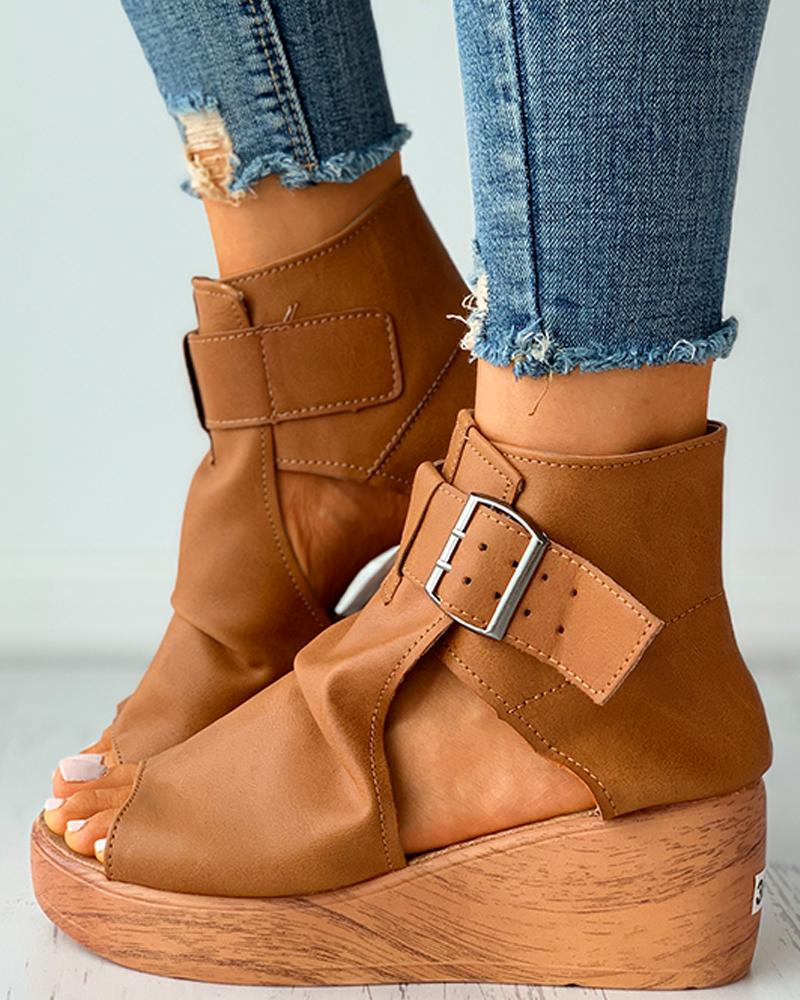 Eyelet Buckled Cutout Wedge Sandals
