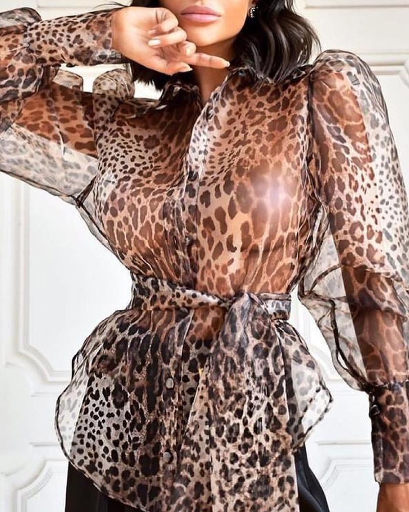 Puff Sleeve Sheer Mesh Cheetah Print Buttoned Top