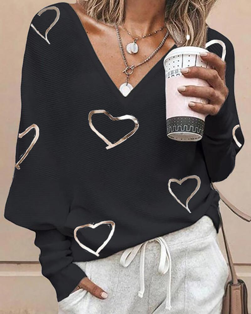 Heart Print Long Sleeve Casual Top