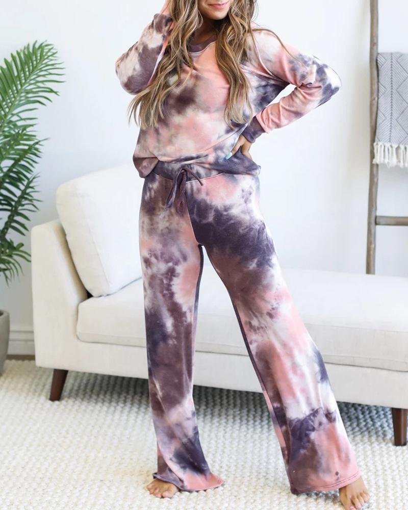Tie Dye Print Drawstring Long Sleeve Pajamas Set thumbnail