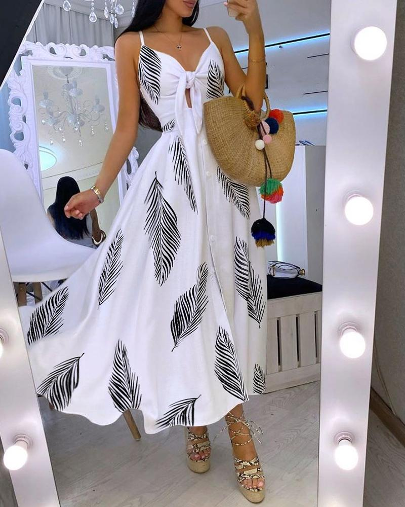 Leaf Print Knotted Front Cutout Button Maxi Dress thumbnail