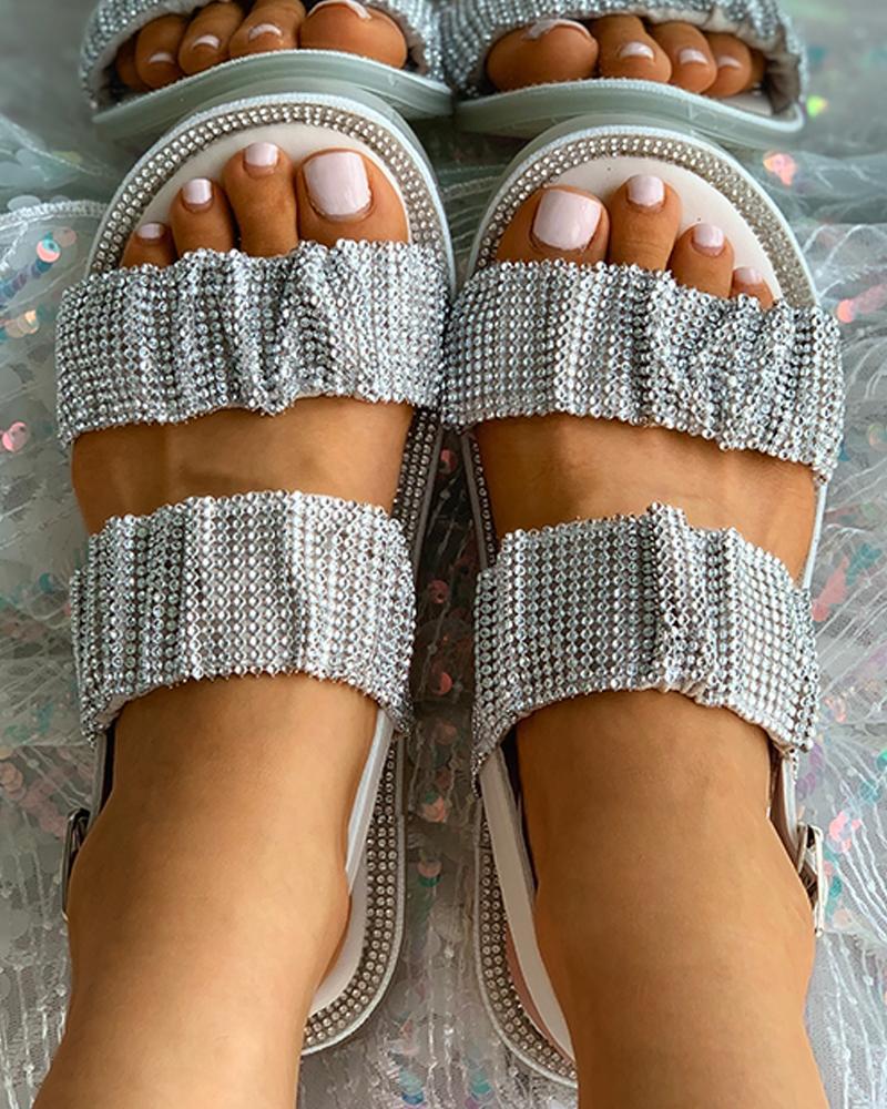 Sparkling Studded Strap Flat Sandals
