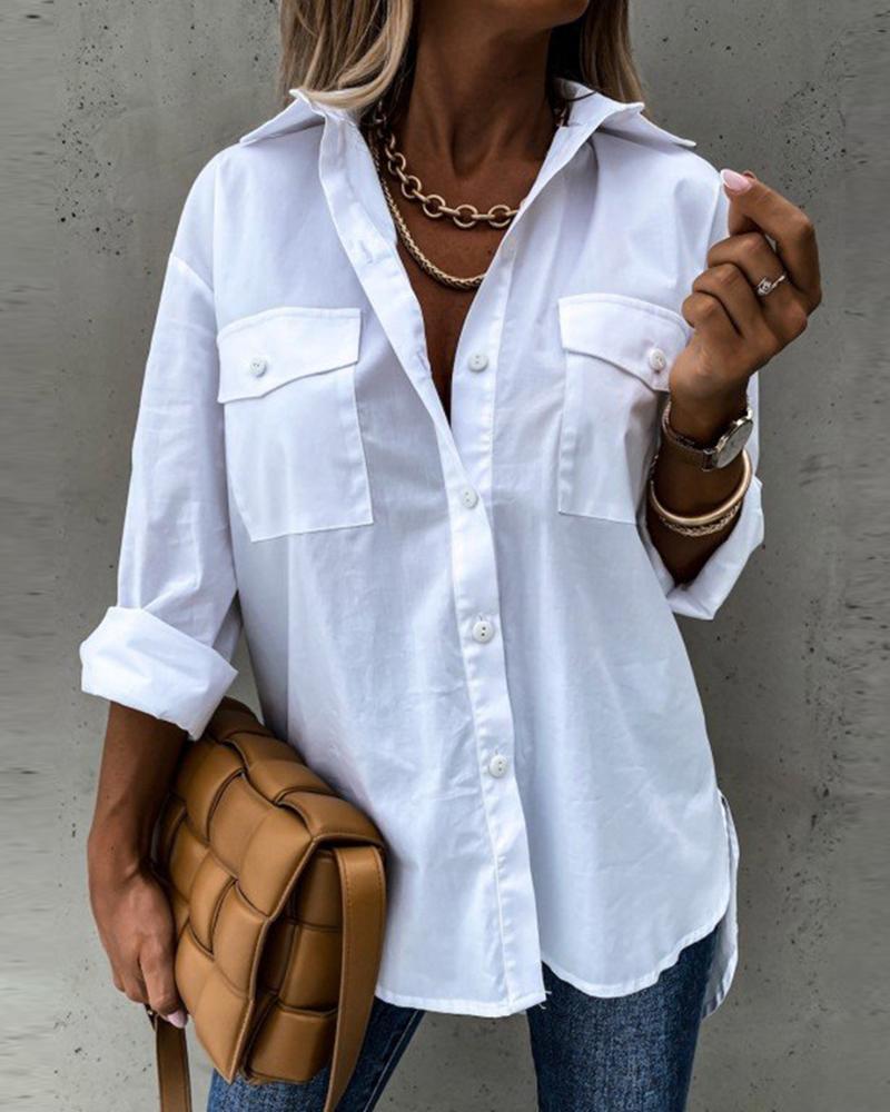 Buttoned Pockets Design Dip Hem Shirt