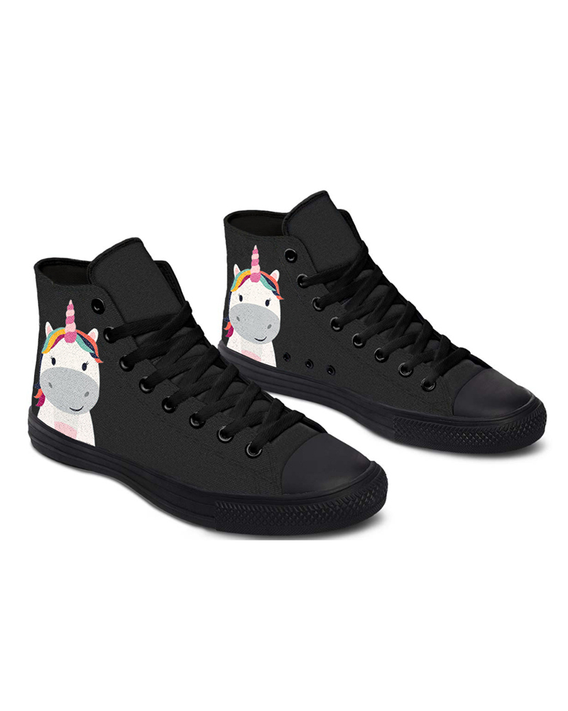 Womens Super Cute Hippo Unicorn Print Lace-up High Top Canvas Casual Shoes, Black