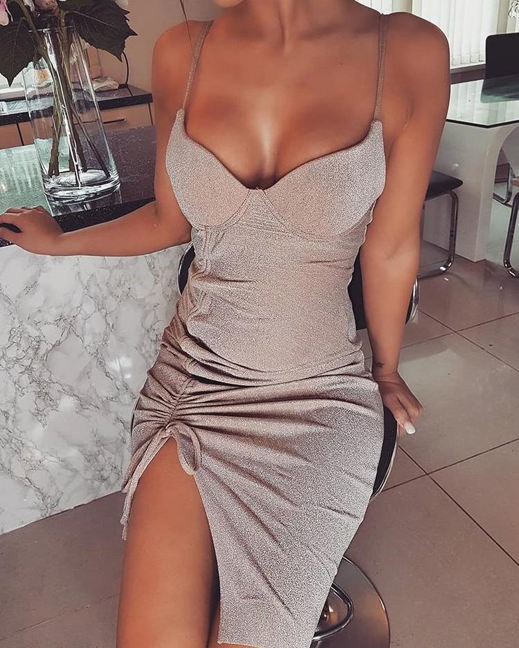 Sparkle Metallic Drawstring Detail Bodycon Dress