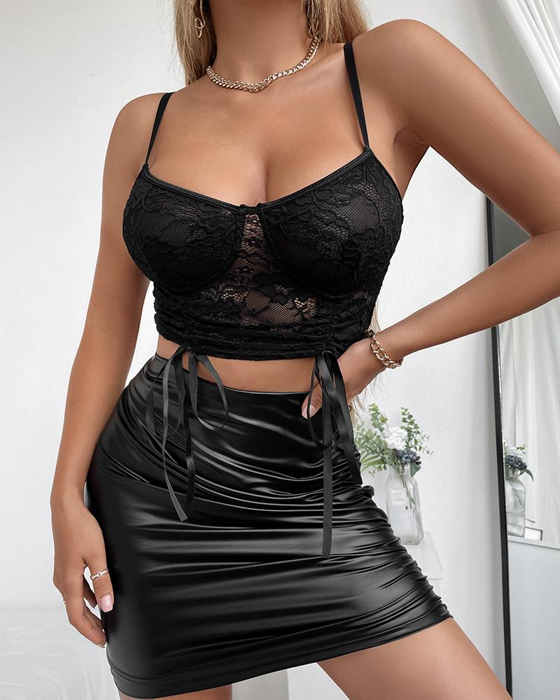 Crochet Lace Drawstring Ruched Mesh Crop Top