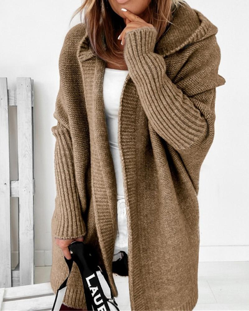 Open Front Batwing Hooded Cardigan
