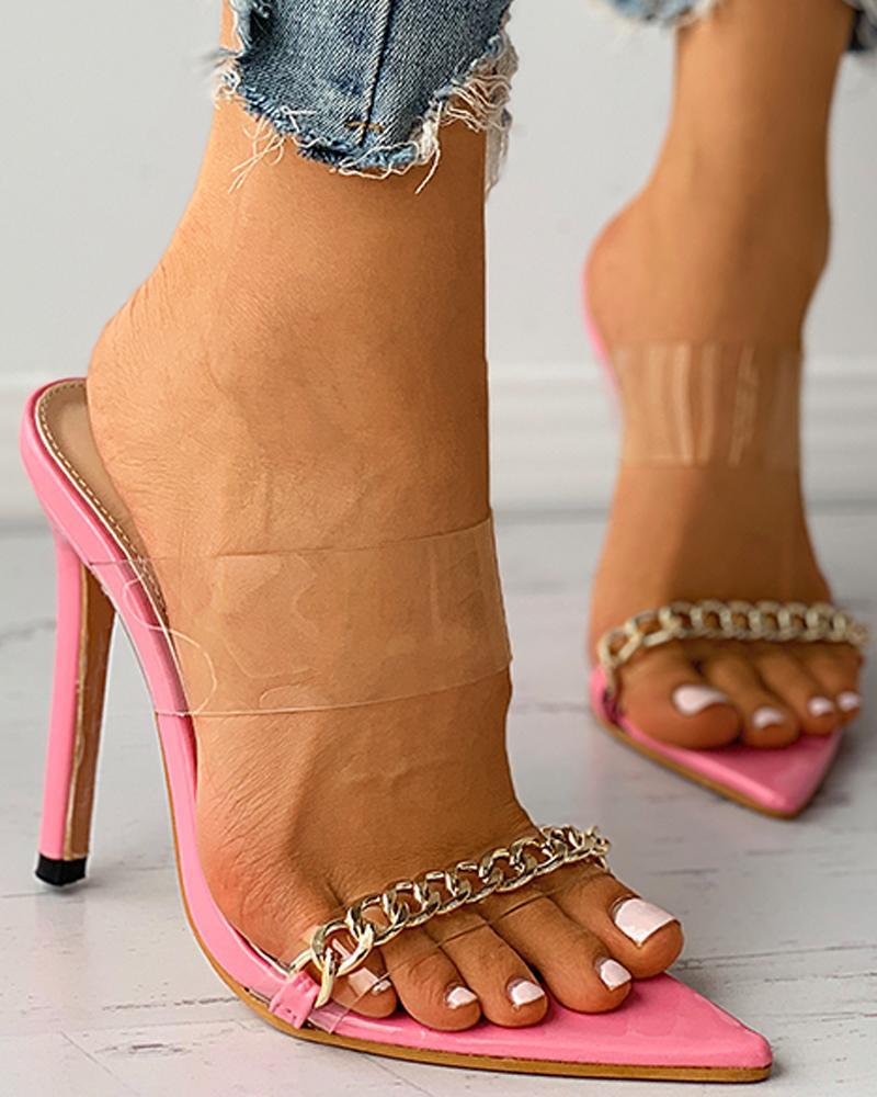 Transparent Chain Strap Pointed Toe Stiletto Heel thumbnail