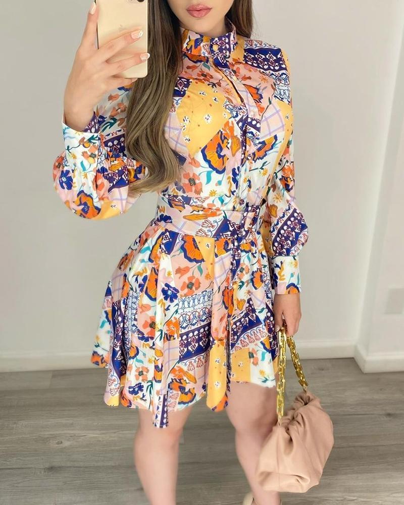 Floral Print Long Sleeve Top & Pleated Skirt Set
