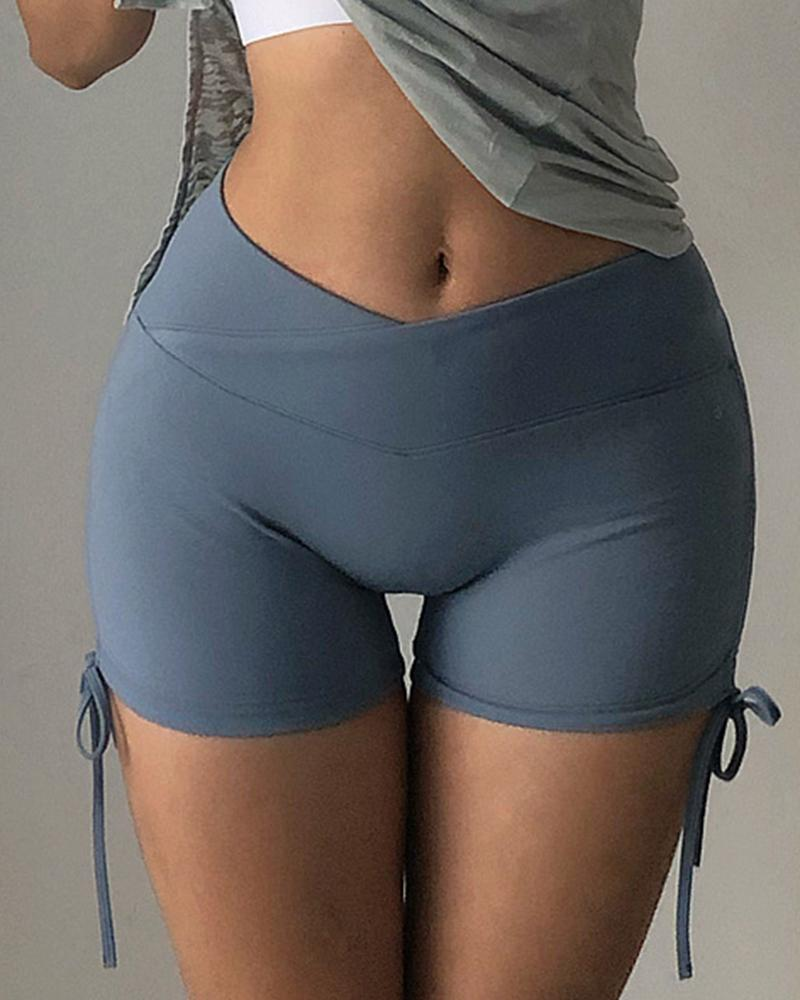 Tie Side High Waist Sexy Active Shorts