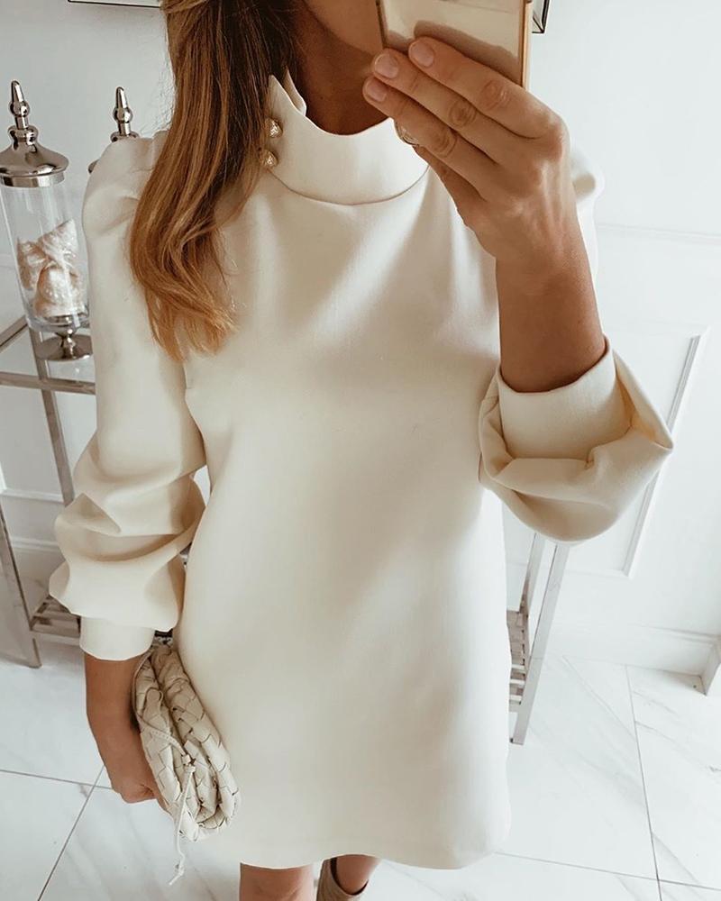 Solid High Neck Mini Dress thumbnail