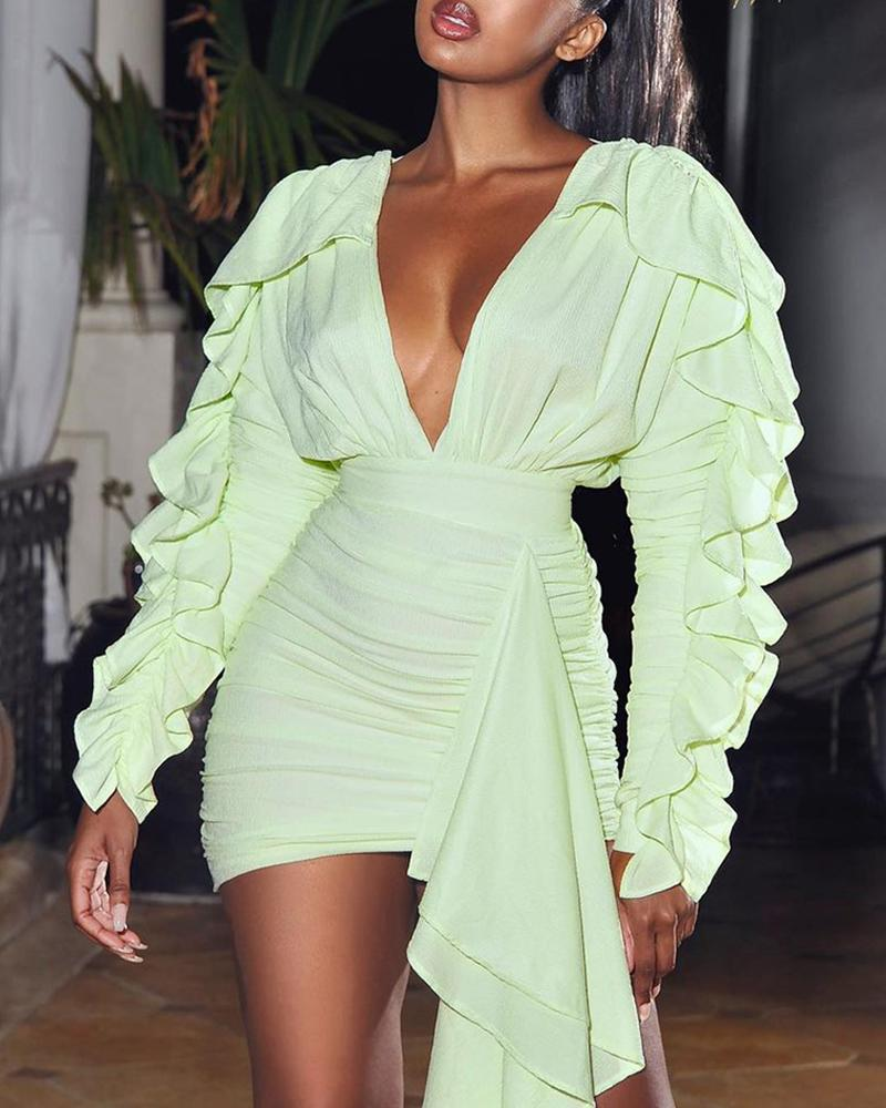 Ruffles Ruched Plunge Draped Bodycon Dress