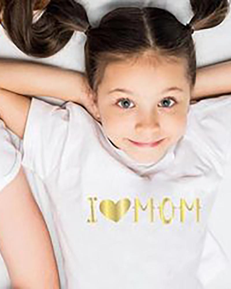 Mommy & me Bronzing Letter Heart Print Short Sleeve T-shirt For Kids thumbnail
