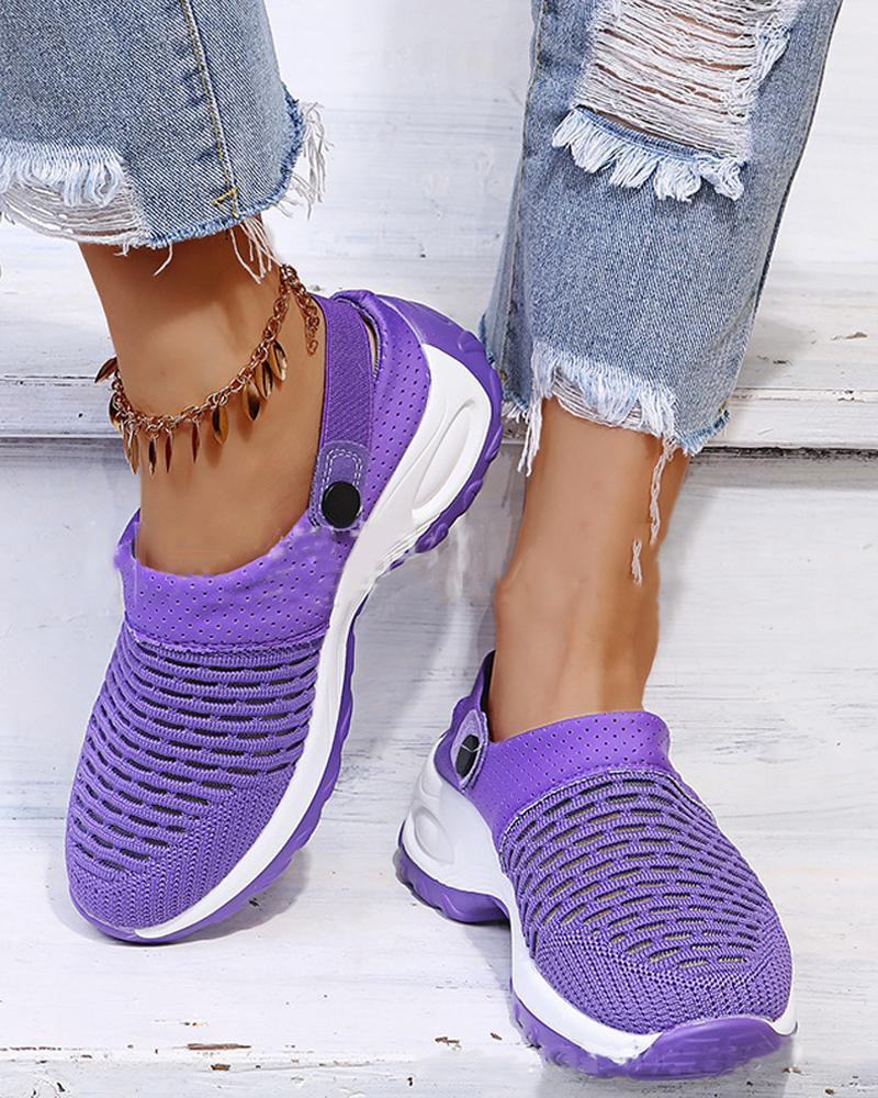 Round-toe Solid Color Hollow-out Sneakers Hole shoes