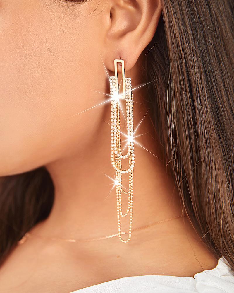 Studded Beaded Tassel Rectangle Decor Drop Earrings
