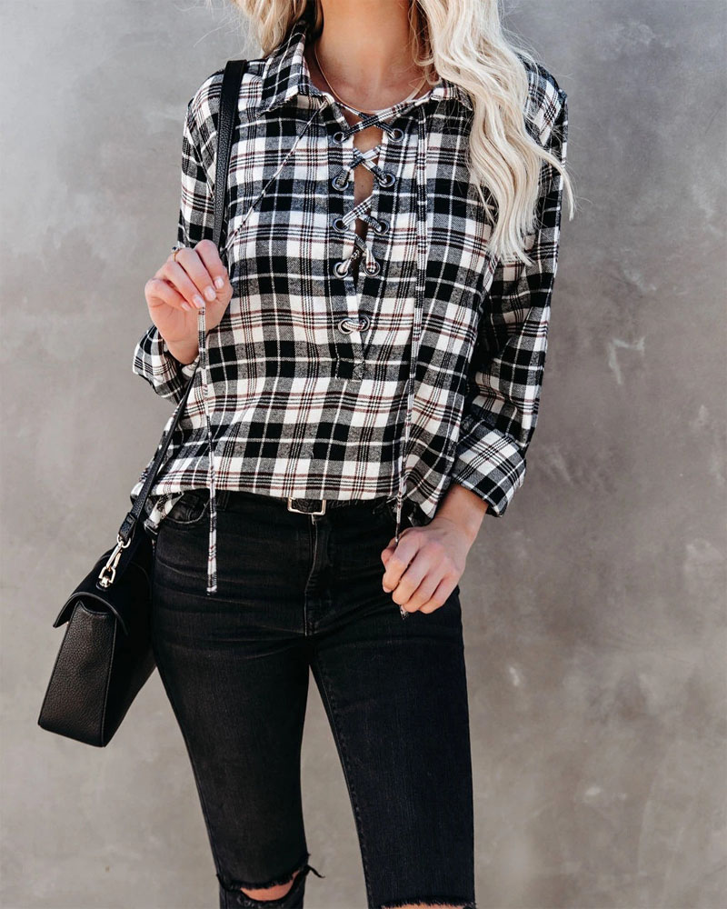Plaid Print Grommet Eyelet Lace-up Long Sleeve Top