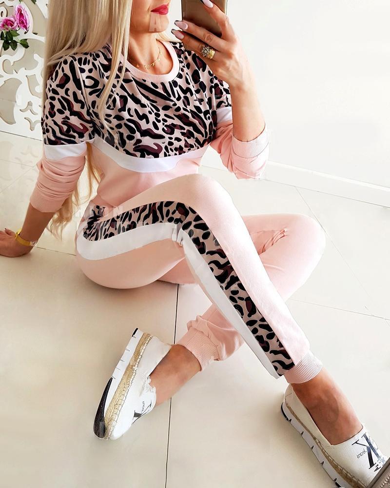 Cheetah Print Colorblock Top & Drawstring Pants Set
